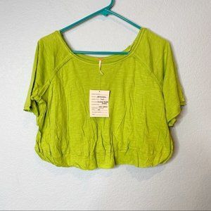 Free People Double Trouble Bubble Green Crop Top